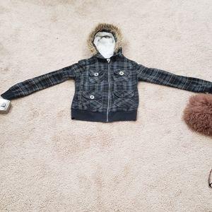 Fur lined hood plaid zip up jacket